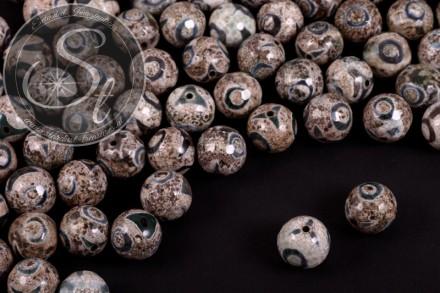 5 Stk. leicht facettierte Dzi Tibet Achat Perlen 14mm-31
