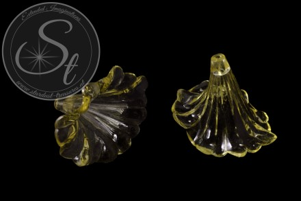 2 Stk. gelbe Acryl-Blüten transparent 41mm-31