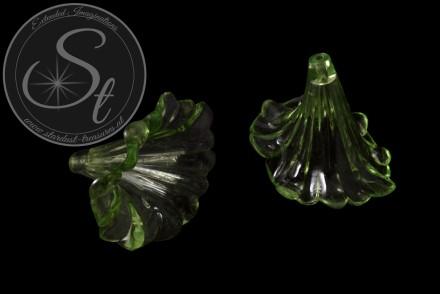 2 Stk. grüne Acryl-Blüten transparent 41mm-31