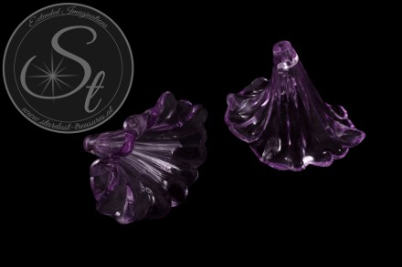 2 Stk. lila Acryl-Blüten transparent 41mm-31