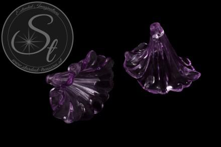 2 Stk. lila Lucite-Blüten transparent 41mm-31