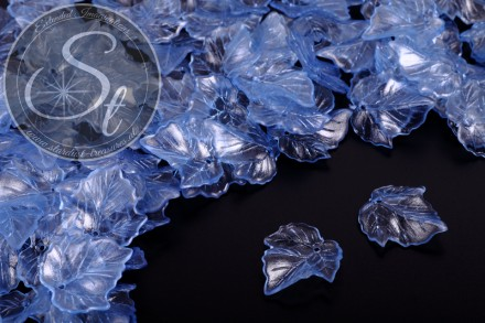 20 Stk. blaue Lucite-Blätter transparent 25mm-31