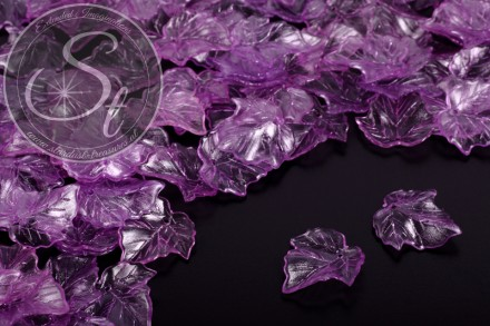 20 Stk. lila Lucite-Blätter transparent 25mm-31