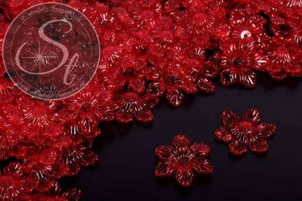 10 Stk. rote Lucite-Blüten transparent 27,5mm-31