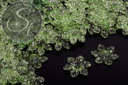 10 Stk. hellgrüne Acryl-Blüten transparent 27,5mm-31
