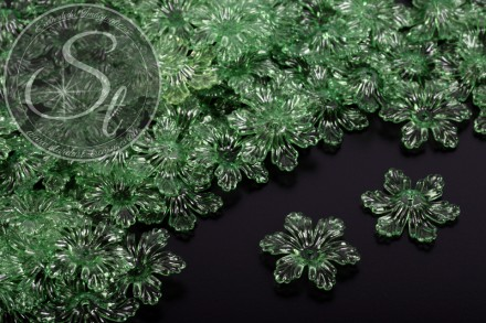 10 Stk. dunkelgrüne Acryl-Blüten transparent 27,5mm-31