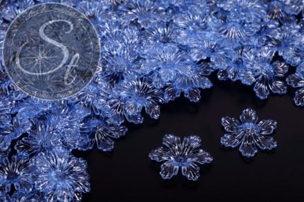 10 Stk. blaue Acryl-Blüten transparent 27,5mm-31