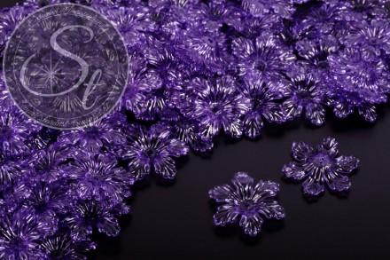 10 Stk. lila Acryl-Blüten transparent 27,5mm-31