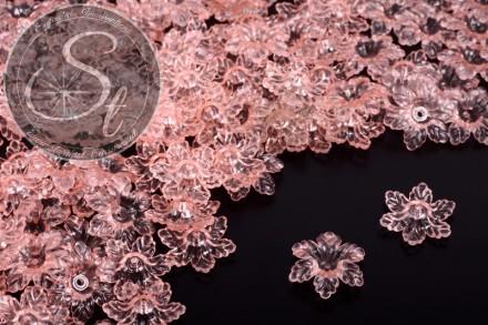 20 Stk. rosa Acryl-Blüten transparent 19mm-31