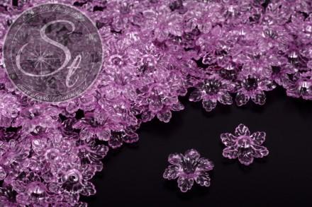 20 Stk. lila Lucite-Blüten transparent 19mm-31