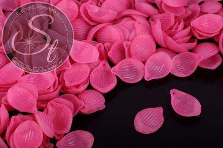 20 Stk. rosa Lucite-Blätter frosted 22mm-31
