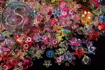 25 Stk. bunt gemischte Acryl-Blüten transparent verschiedene Größen-31