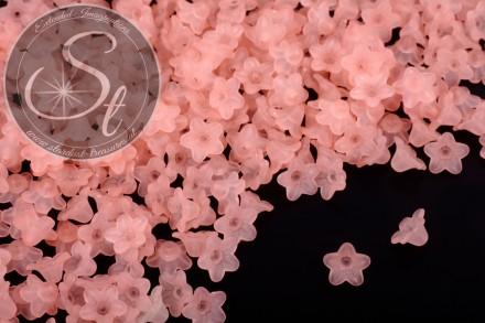 20 Stk. lachsfarbene Acryl-Blüten frosted 10mm-31