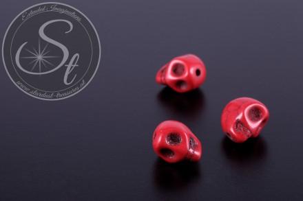 3 Stk. rote Totenkopf Türkis Perlen 10mm-31