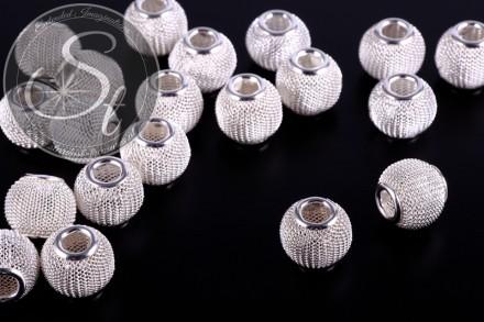 4 Stk. silberfarbene Metallgitter Perlen ca. 13mm-31