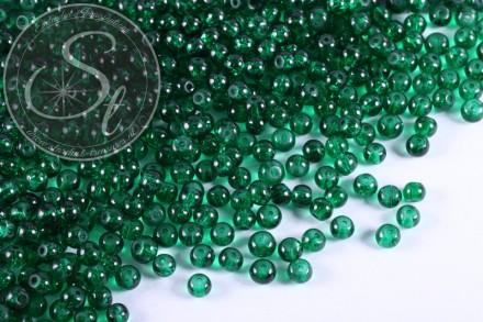 40 Stk. dunkelgrüne Crackle Glas Perlen 4mm-31