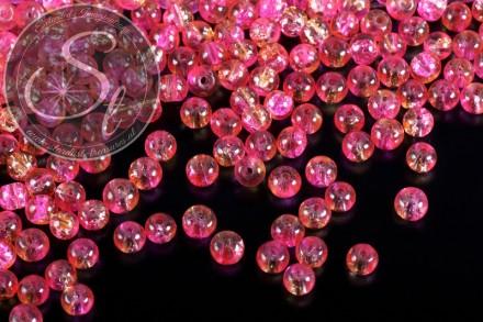 40 Stk. rosa/gelbe Crackle Glas Perlen 4mm-31
