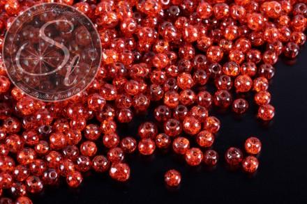 40 Stk. dunkelorange Crackle Glas Perlen 4mm-31