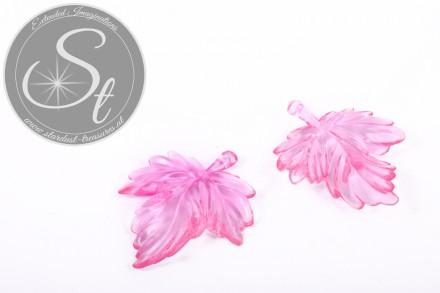 2 Stk. rosa Lucite-Blätter Pendants transparent 48mm-31