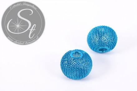 1 Stk. türkise Metallgitter Perlen ca. 24mm-31