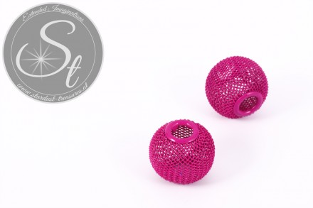 2 Stk. pinke Metallgitter Perlen ca. 19mm-31