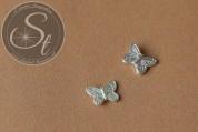5 Stk. silberfarbene Flügel-Perlen aus Metall 15mm-20