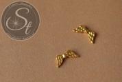 5 Stk. goldfarbene Flügel-Perlen aus Metall 20mm-20