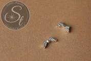 6 Stk. silberfarbene Flügel-Perlen aus Metall 16mm-20