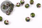 5 Stk. runde grüne Cloisonne Perlen 10mm-20