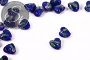 2 Stk. herzförmige dunkelblaue Lampwork Perlen 16mm-20