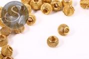 5 Stk. goldfarbene Metallgitter Perlen ca. 12mm-20