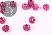 5 Stk. rosa Metallgitter Perlen ca. 12mm-20