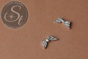 5 Stk. silberfarbene Flügel-Perlen aus Metall 20mm-20