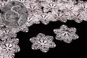 4 Stk. silberfarbene filigrane Blumen Metallelemente 43mm-20