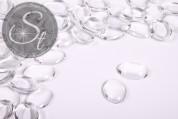 10 Stk. transparente ovale Glascabochons 18mm-20