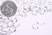 10 Stk. transparente tropfenförmige Glascabochons 14mm-20