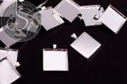 1 Stk. quadratische silberfarbene Cabochon-Fassung 26mm-20