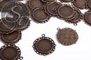 2 Stk. runde antik-bronzefarbene Cabochon-Fassungen 35mm-20