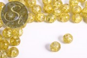 10 Stk. gelbe Crackle Glas Perlen 12mm-20