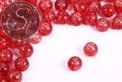 10 Stk. lachsfarbene Crackle Glas Perlen 12mm-20