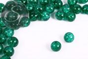 10 Stk. dunkelgrüne Crackle Glas Perlen 12mm-20