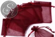 5 Stk. bordeaux-farbene Organza-Säckchen 10cm-20