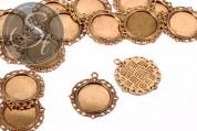 2 Stk. runde antik-goldfarbene Cabochon-Fassungen 35mm-20