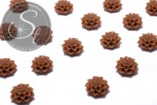 4 Stk. braune Blumen Cabochons 15mm-20