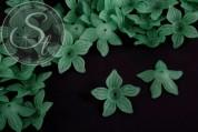 10 Stk. dunkelgrüne Acryl-Blüten frosted 27mm-20