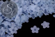 20 Stk. hellblaue Lucite-Blüten frosted 20mm-20