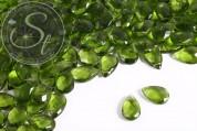10 Stk. olivgrüne flache tropfenförmige facettierte Glasperlen 18mm-20
