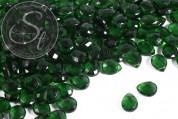 10 Stk. dunkelgrüne flache tropfenförmige facettierte Glasperlen 15mm-20