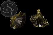 2 Stk. gelbe Lucite-Blüten transparent 41mm-20