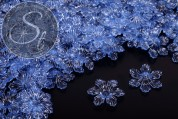 10 Stk. blaue Lucite-Blüten transparent 27,5mm-20